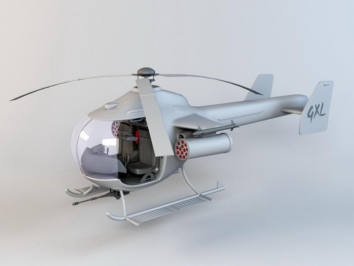 Tiny Military Helicopter 3d rendering