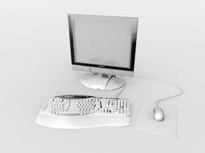 Keyboard Mouse and Monitor 3d rendering