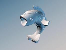 Stone Fish Sculpture 3d preview
