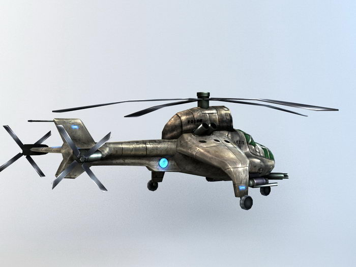 Steampunk Military Helicopter 3d rendering