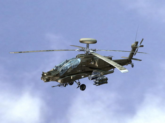 Apache Attack Helicopter 3d rendering