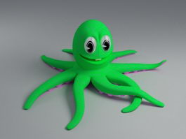 Green Octopus Cartoon 3d preview