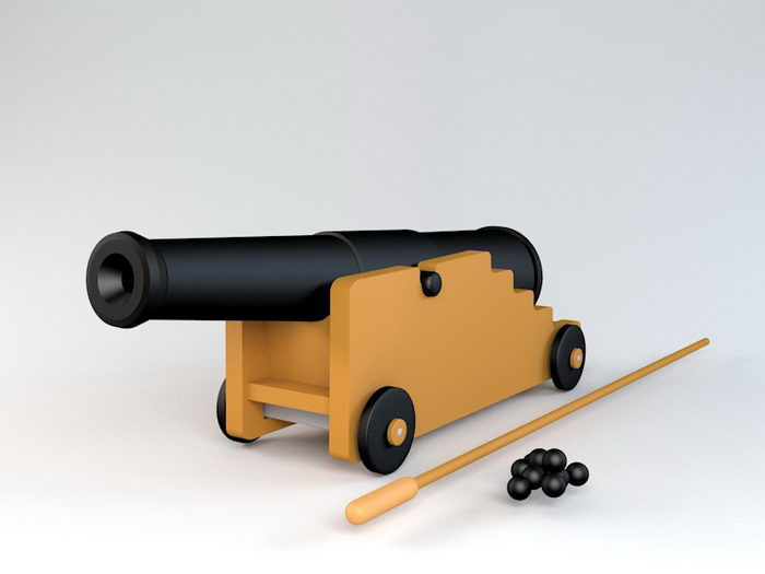 Pirate Cannon 3d rendering
