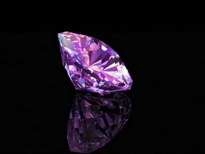 Purple Diamond 3d rendering