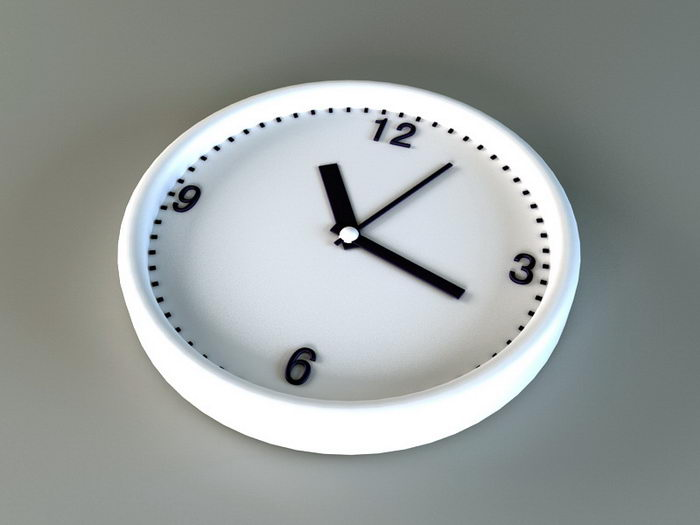 White Wall Clock 3d rendering