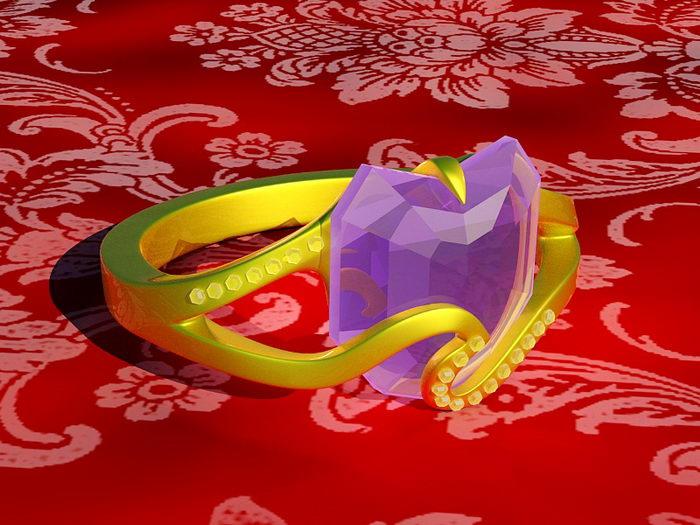 Purple Amethyst Ring 3d rendering