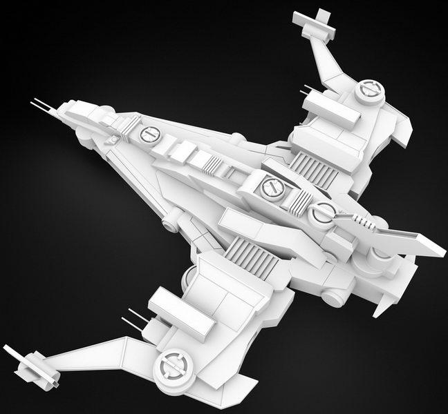 Sci-Fi Starfighter 3d rendering