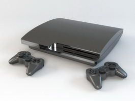 PS3 Slim with Controllers 3d model preview