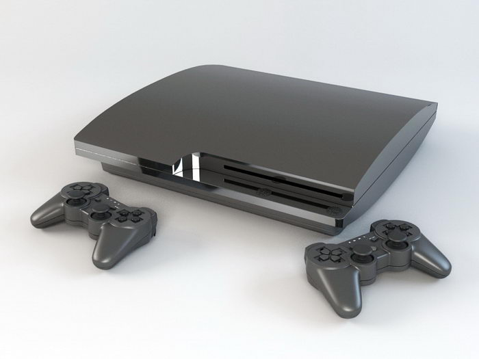 PS3 Slim with Controllers 3d rendering