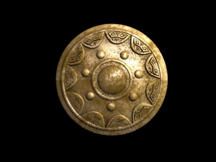 Brass Round Shield 3d rendering