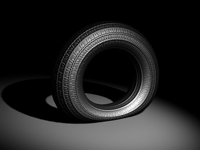 Flat Tyre 3d rendering