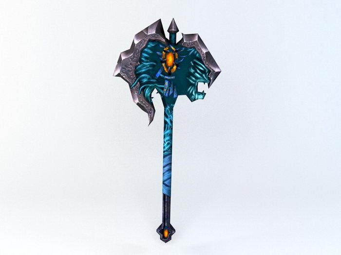 Fantasy War Axe 3d rendering
