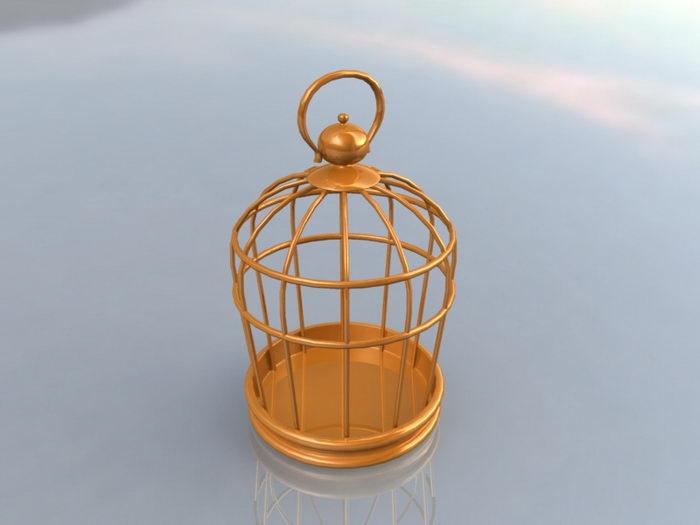 Brass Bird Cage 3d rendering