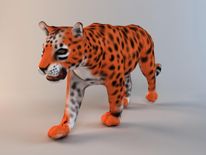 Animated Golden Leopard 3d rendering