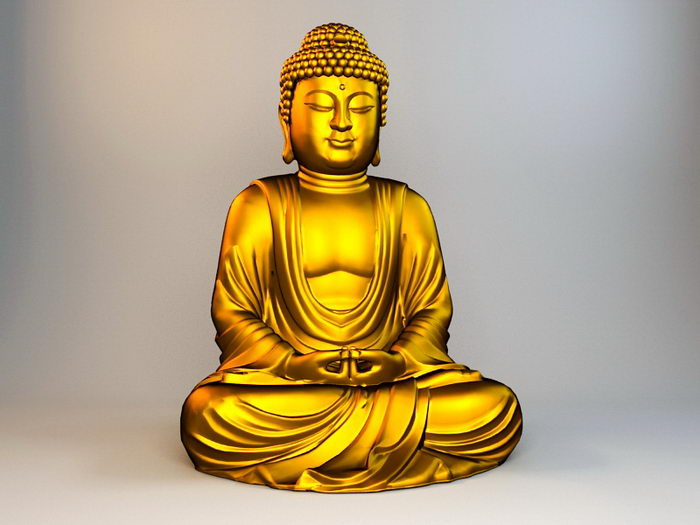 Gold Buddha Statue 3d rendering