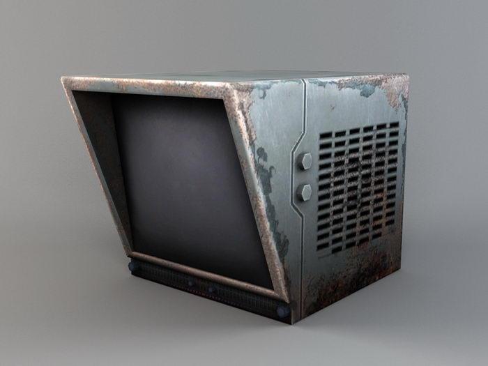 Vintage CRT Monitor 3d rendering