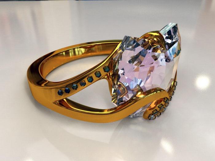 Engagement Ring 3d rendering