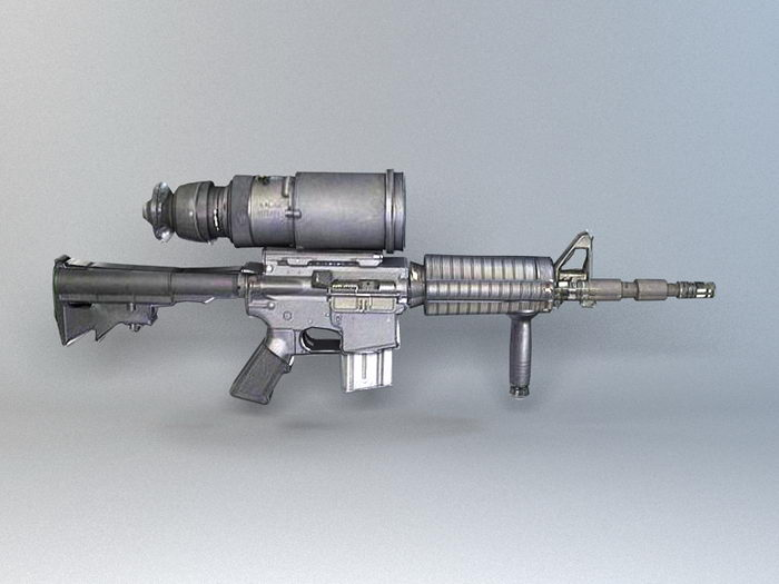 M4A1 with AN/PVS-4 3d rendering