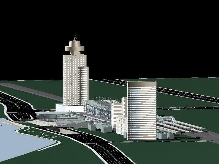 Complex Office Building 3d rendering