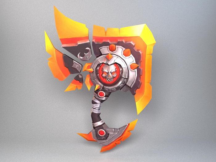 Death Crystal Axe 3d rendering