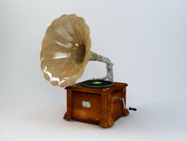 Antique Phonograph Record Player 3d preview