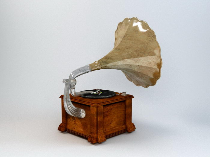 Antique Phonograph Record Player 3d rendering
