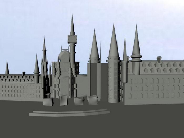Cartoon Castle 3d rendering