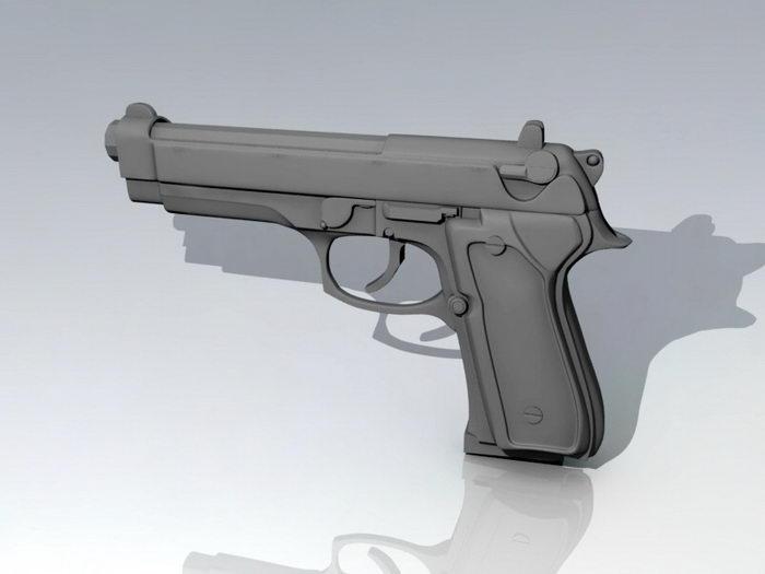 Pistol Weapon 3d rendering