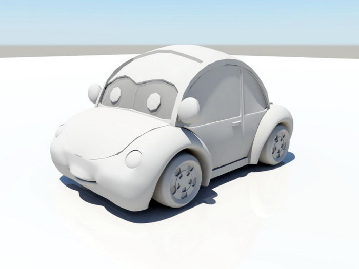 Cartoon Volkswagen Beetle 3d rendering