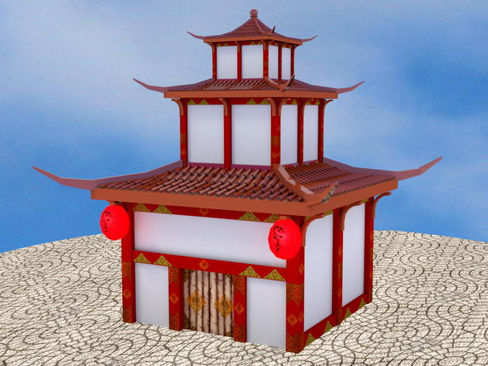 Cartoon Buddha Temple 3d rendering
