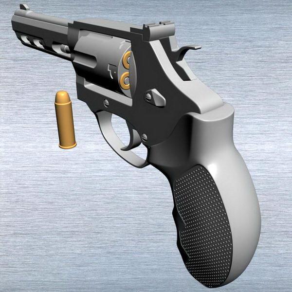 Small Revolver Gun 3d rendering
