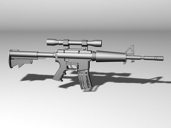 M4 Carbine with Scope 3d rendering