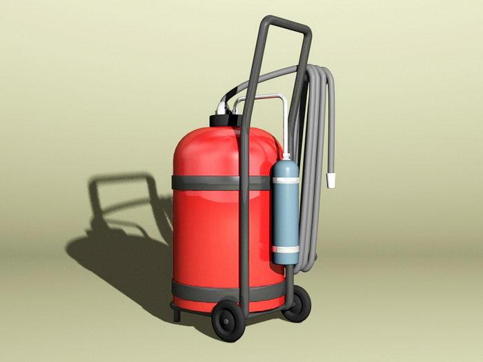 Wheeled Extinguisher 3d rendering