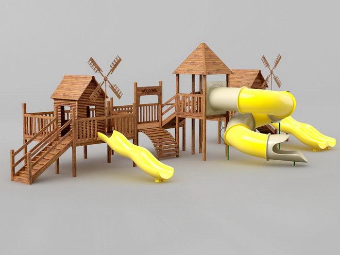 School Playground Equipment 3d rendering