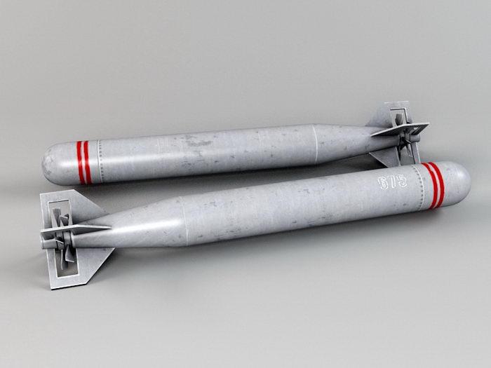 Modern Torpedo 3d rendering