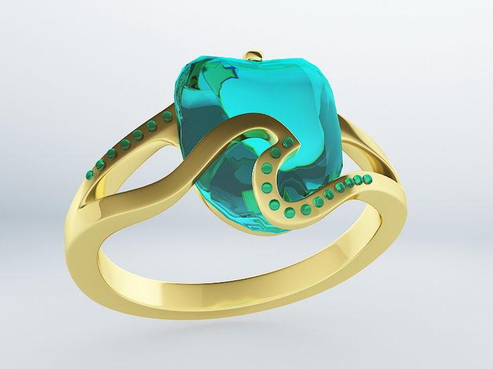 Aquamarine Ring 3d rendering