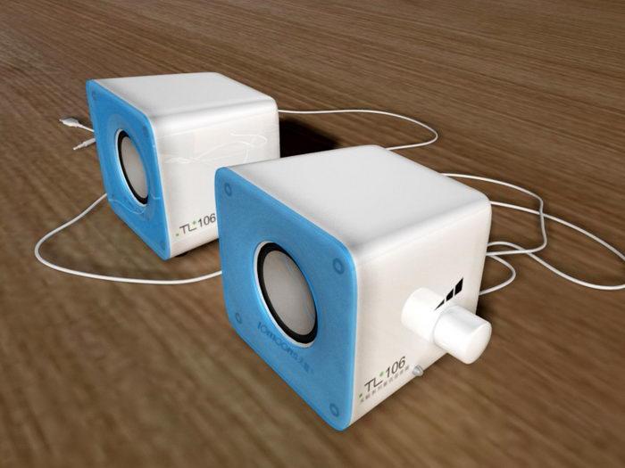 Mini Computer Speakers 3d rendering