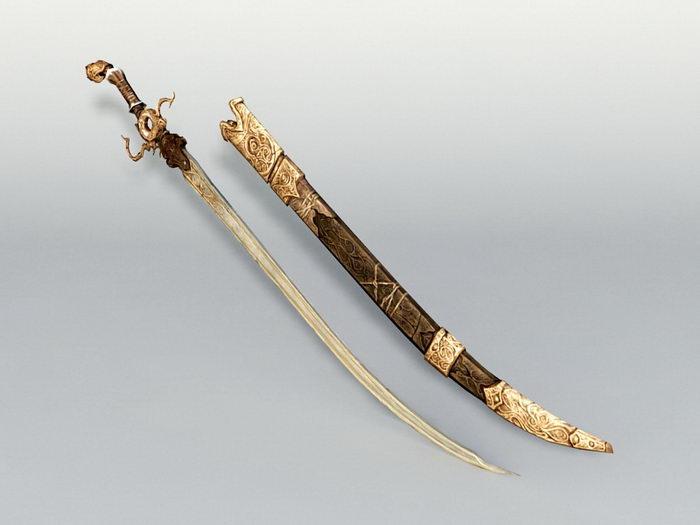 Middle Eastern Sword 3d rendering