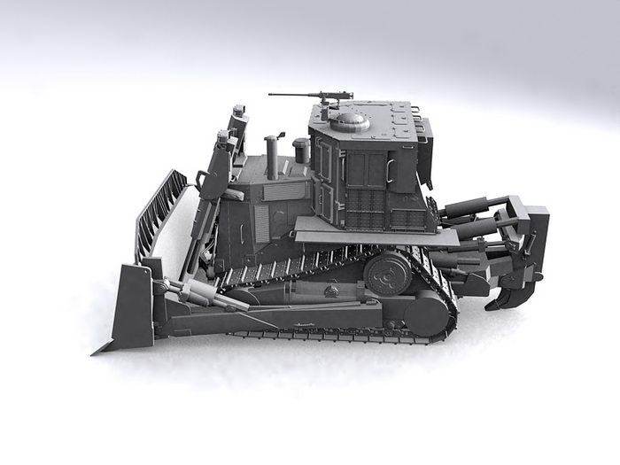 Military Bulldozer 3d rendering