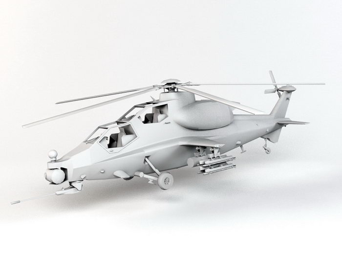 Army Attack Helicopter 3d rendering