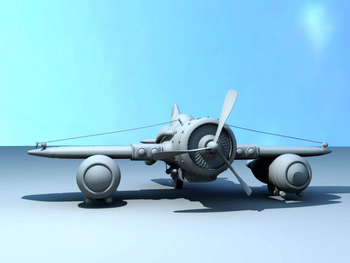 Steampunk Airplane 3d rendering