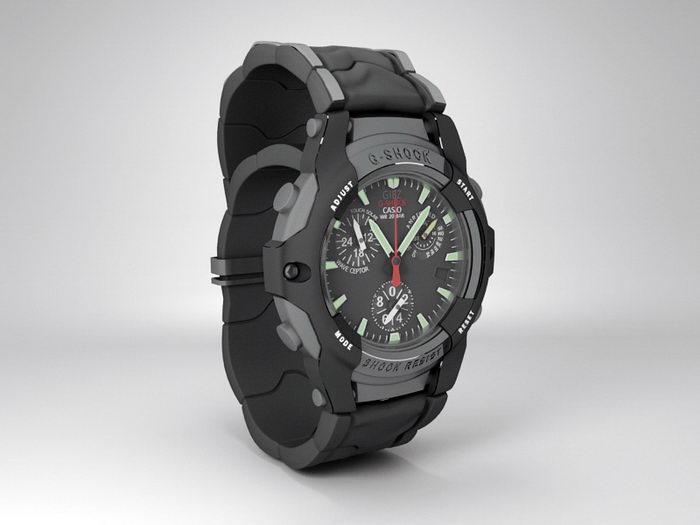 Casio G-Shock Frogman 3d rendering