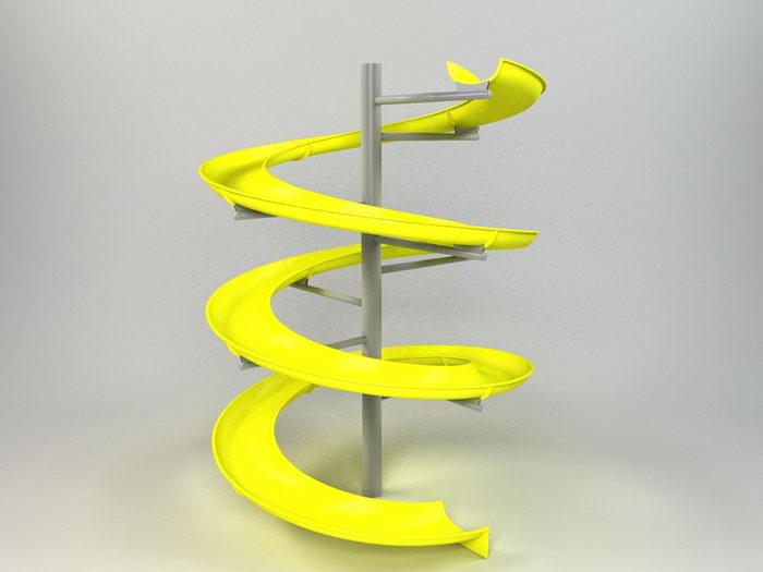 Spiral Water Slide 3d rendering