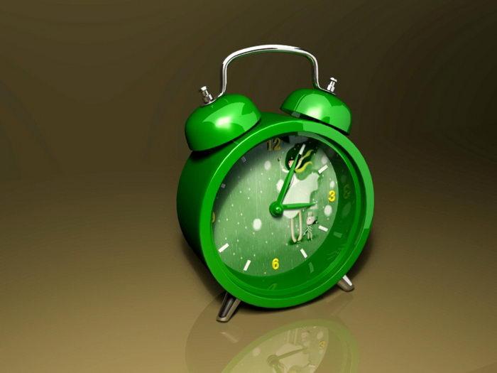 Classic Green Alarm Clock 3d rendering