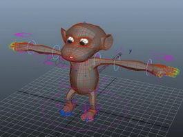 Cartoon Monkey Rig 3d model preview