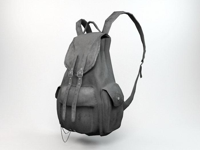 Black Backpack 3d rendering