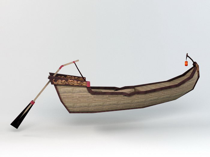 Antique Canoe Row Boat 3d rendering