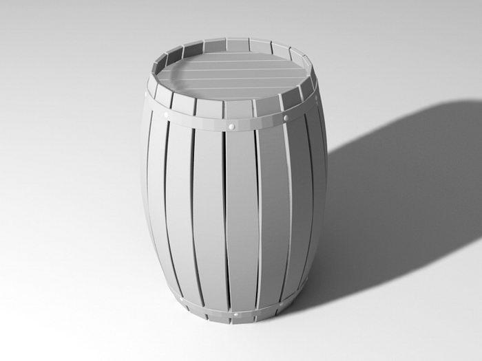 Wine Barrel 3d rendering