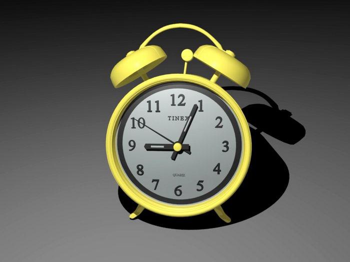 Gold Alarm Clock 3d rendering