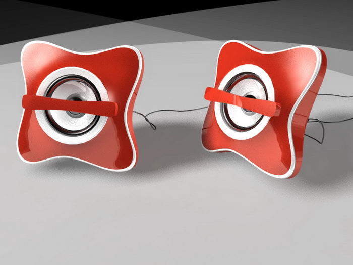 Red Computer Speakers 3d rendering